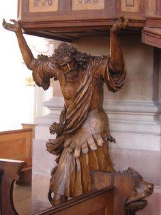Chaire portée par Sanson au Lion - Abbaye Saint-Maurice - Ebersmunster, Bas-Rhin (France) - Photo Papidan