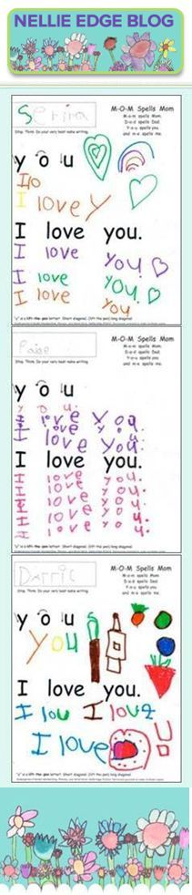 "Handwriting blog from NELLIE EDGE for authentic writing samples, practical tips, and FREE resources. ""I love you"" is our FIRST ""heart word sentence"" that gives children writing power! ""Fall and Winter Handwriting Tips"". Explore at http://nellieedge.com/handwriting/fall-winter-handwriting-tips-young-writers/ 