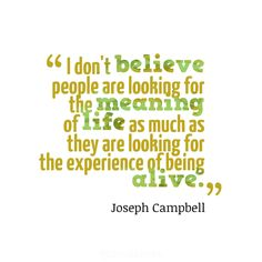 """I don't believe people are looking for the meaning of life as much as they are looking for the experience of being alive"". #Quotes by #JosephCampbell vía @Candidman"