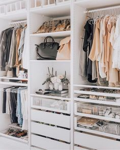 IKEA Closet Inspiration - Crazy Wonderful - - There is a way to get a custom closet of your dreams at an afforable price using IKEA PAX wardrobes. Check out these beautiful inspiration closets! Closet Door Storage, Organizing Walk In Closet, Walk In Closet Small, Wardrobe Organisation, Walk In Closet Design, Small Closets, Closet Shelves, Closet Designs, Organization Ideas