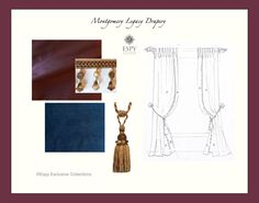 Montgomery Legacy Drapery Treatment. plum silk and bright navy faux silk with cognac and antique gold trims. May be customized. DesignNashville