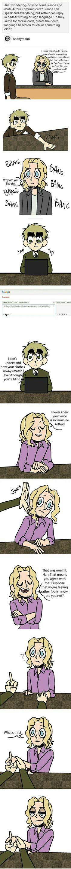 Blind!Francis X Mute!Arthur;; FrUk. OMG I LOVE THIS