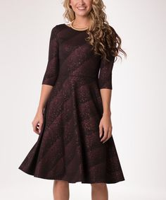 Black & Brown Ripple Abstract Liverpool Shimmer A-Line Dress