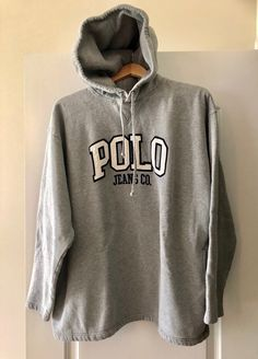 POLO Ralph Lauren Hoodie Sweatshirt gray with navy blue and white  embroidered letters LARGE by VintagePursesPlus 884be565b0