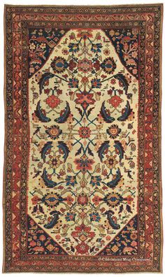 MALAYER, Northwest Persian, 4ft 7in x 8ft 2in, Circa 1875. NEW ARRIVAL! At Claremont, we recognize the role that astonishing arrays of colors, sometimes coaxed in dye baths for over a month, play in the creation of an art-level Oriental rug. This highly collectible area-size antique carpet is an enthralling example, displaying a rainbow of reds filling clearly drawn large, stylized blossoms while blues, golds, and dark walnut add pleasing counterpoint.