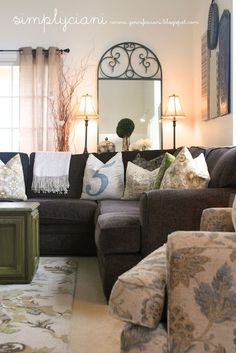 Cute living room in a military home with those plain white walls!