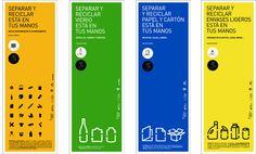 Infografias de distintos cromas explicando el proceso de reciclaje en tipografia que contrasta con el fondo, los cromas y los pequeños dibujos dan una informacion simple y concreta , y los espacios en blanco dentro de la infografia ayuda a seguir el proceso, los cromas tambien ayudan a establecer una separacion entre infografias. las infografias son la forma mas efectiva de informar de manera simple a la gente.