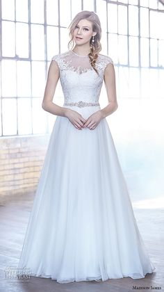 Madison James Bridal Fall 2015 Wedding Dresses | Wedding Inspirasi | Beautiful, Embroidered Lace & Tulle A-Line Wedding Gown Featuring A Jewel Neckline, Capped Sleeves, Sweep Train