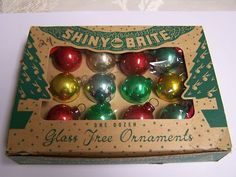 Vintage Christmas Glass Shiny Brite Feather Tree Ornaments with Box | eBay