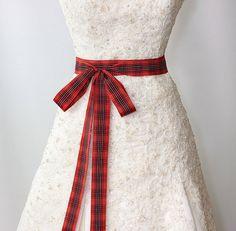 Bridal Sash - Satin Ribbon Sash - Wedding Sashes - Red Plaid Tartan Bridal Belt on Etsy, $38.00