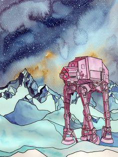 Image of Star Wars Watercolor Art Print 30 x 40 cm FREE SHIPPING