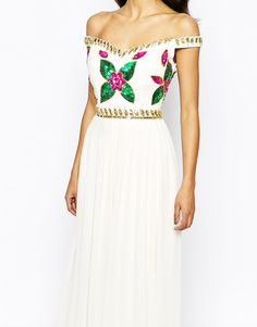 Virgos Lounge | Virgos Lounge Sarah Grace Embellished Bardot Neck Maxi Dress With Pleated Skirt at ASOS