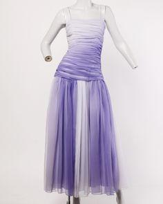 1stdibs.com | Bill Blass Vintage Purple Ombre Chiffon Ruched Dip Dye Maxi Dress