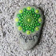 mandala stone stones painted green