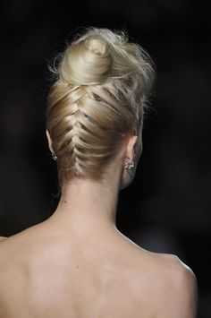 Pin for Later: 22 Lazy-Girl Plaits For Summer Inverted French Plait This inverted french braid, spotted at Badgley Mischka, flows up into a crown-level bun. Think of it as an adult twist on two classic styles.