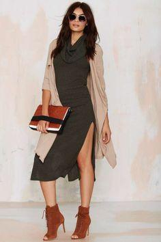 Lizzy Cowl Neck Knit Dress - Olive - Solid | Body-Con | Midi + Maxi