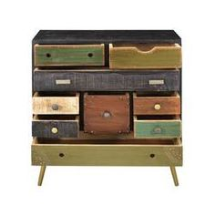 Mango And Iron 9 Drawer Chest - Treasure Trove, Multi-Colored Wood Drawers, Chest Of Drawers, Accent Chest, Throw In The Towel, Honey Colour, Trendy Home, Living Room Furniture, Furniture Projects, Wood Projects