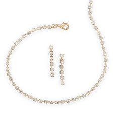 Gold Tone Crystal Fashion Choker and Earring Set