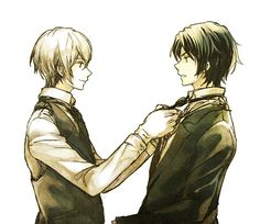 Shinya helping Guren with his tie…pffft (related to this)