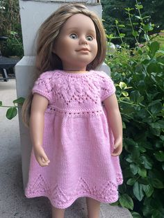 Anya Dress Knitting Pattern by Suzie Sparkles - smallest size using sport weight instead of DK yarn is perfect fit for American Girl Dolls. American girl doll knitting pattern. Knitted dress for American Girl Doll. Doll Dress Knitting Pattern