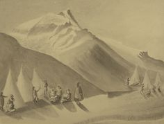 """The use of ink rather than graphite in this work allows for sharper contrasts and subtler effects of relief and shadow. Zacharie Vincent, """"Camp at the Foot of the Mountain,"""" n.d., Château Ramezay."""