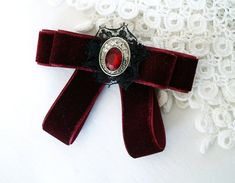 velvet bow tie brooch with rhinestone, deep red bowtie for women, burgundy red, ladies bow tie, gift Velvet Bow Tie, Red Bow Tie, Dance Accessories, Red Jewelry, Fabric Bows, Birthday Favors, Burgundy Color, Decoration, Mall