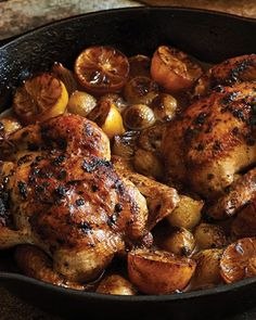 Roast Cornish Hens with Melted Onions and Lemons