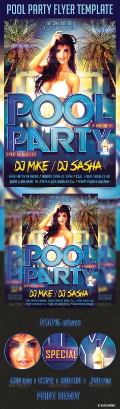 Pool Party Flyer Template By Zokidesign Via Behance  Poster