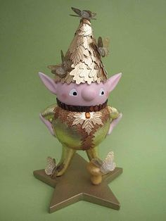 mini elf with gold leaf stickers