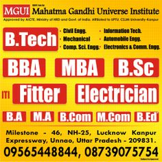 #BTech #MGUI MGUI Lucknow offers BTECH Programes in UP, bachelor Technology is one of the field that has huge opportunities all over the world. B.tech in Civil Engineering, Electronics, Mechanical,Computer Science and more specialization are offered here .  For more information about B.Tech Course Visit online: www.ddit-mgui.com  Or Call Us +91-09565448844, +91-08739075754