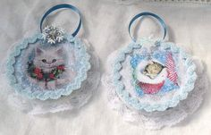 ORNAMENT 2 White/Blue Vintage Images Kitty Cat by RoseChicFriends, $12.99