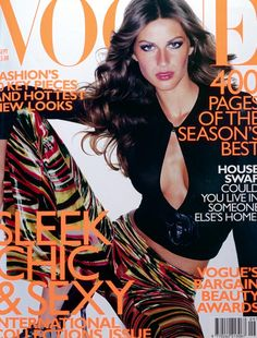 September 1999 Gisele Bundchen wears silk top with leather rose, £340. Velvet trousers, £500. Sequined velvet shoes, £415. All at Gucci. All make-up by Clinique. Photography: Mario Testino. Hair: Ward for Bumble & Bumble, NYC. Make-up: Mark Carrasquillo. Fashion editor: Kate Phelan.
