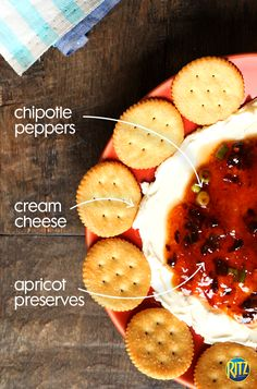 RITZ make excellent dipping crackers! This Chipotle-Apricot Cream Cheese Spread make for a wonderfully sweet and savory appetizer. Finger Food Appetizers, Yummy Appetizers, Appetizer Recipes, Snack Recipes, Snacks, Appetizer Dessert, Appetizer Ideas, Hummus, Ritz Crackers
