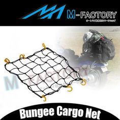 "M-factory Motorcycle Vehicle Car Cargo Net Pom Hook For Helmet Luggage Bags 502yp 18""x18"" Yellow Hooks With Black Universal Motocycles Bike Car Truck Atv...etc 1pc Bungee Cord"