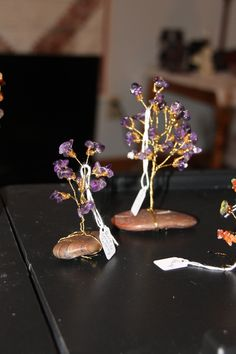Natural Amethyst Crystal Wire Trees  $7 or $15 depending on size and base stone. Healing properties card included.  Can custom design a wire tree or jewelry for you or a loved one.