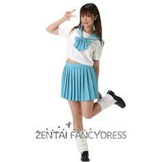 Light Blue And White Japanese School Uniform Short Sleeves Shirt And Blue Skirt
