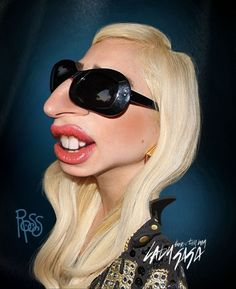 Celebrity caricatures Lady Gaga by Scott Ross