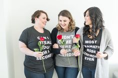 """Don't miss this rose-studded """"The Bachelor"""" Viewing Party at Kara's Party Ideas. It's fun for fans and non-fans alike! The Bachelor Tv Show, Bachelorette Party Themes, Rose Shirts, Bridal Shower Cakes, Adult Birthday Party, How To Make Tshirts, Party Shirts, Party Fashion, Girls Night"""