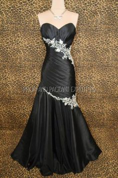 TIMELESS BLACK PROM EVENING PAGEANT FORMAL LONG BALL GALA GOWN DRESS 2