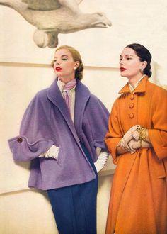 Orange and Purple coats long swing style 50s era vintage fashion glam color…