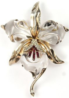 Trifari Sterling 'Alfred Philippe' Jelly Belly Orchid Pin | eBay