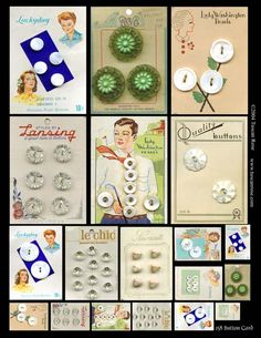 "(::)  vintage button cards.  Mostly Iowa button factories  along the Mississippi River, utilizing mollusks and fresh water clamshell mother-of-pearl nacre. {Research and original description by DiaNNe - ""Vintage Button Cards (::)"""