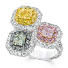 David Mor Fancy Pink, Yellow and Light Green Diamond Ring