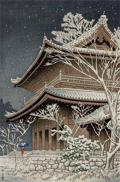 Takeji Asano ~ Snow at Chisin Temple, Kyoto