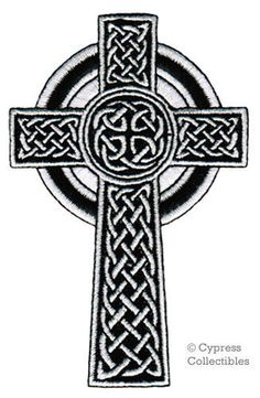 CELTIC CROSS iron-on PATCH embroidered IRISH CHRISTIAN RELIGIOUS EMBLEM JESUS #CypressCollectiblesInc #Embroidered