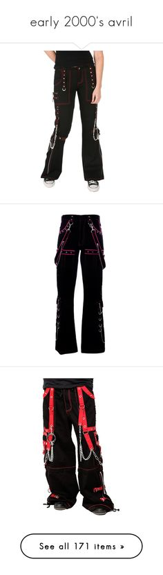 """""""early 2000's avril"""" by thegallowisgod ❤ liked on Polyvore featuring pants, hot topic, jeans, tripp, bottoms, black goth pants, punk pants, punk rock pants, goth pants and black pants"""