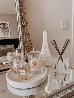 JavaScript is currently disabled in this browser. Reactivate it to view this content. Cream Aesthetic, Gold Aesthetic, Classy Aesthetic, Aesthetic Room Decor, Anthropologie Mirror, Dresser With Mirror, Mirrored Dresser, Mirror Tray, Room Ideas Bedroom