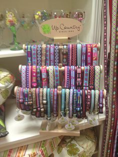 Up Country Pet collars & leads at Femme Fatale Boutique | I need to make/find a display rack like this ASAP!