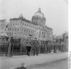 Two Soviet soldiers at the City Palace, Berlin, May-Jun 1945