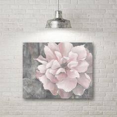 """Courtside Market 16 in. x 20 in. """"Pink and Gray Magnolia"""" Canvas Wall Art, Pink Blush Pink And Grey Bedroom, Gray Bedroom Walls, Blush Walls, Grey Bedroom Decor, Pink Walls, Pink Grey, Bedroom Ideas, Pink Room, Grey Walls"""